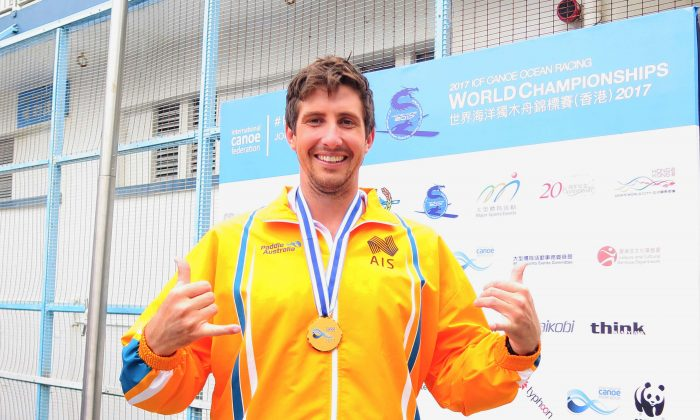 Cory Hill, from Australia has competed in Hong Kong six times, won the world champion title for the second time, in the ICF Canoe Ocean Racing World Championships 2017. (T M Chan)