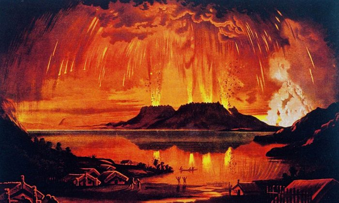 'Mount Tarawera in Eruption' by Charles Blomfield, depicting th 1886 eruption of Mount Tarawera on New Zealand's North Island. (Wikipedia)