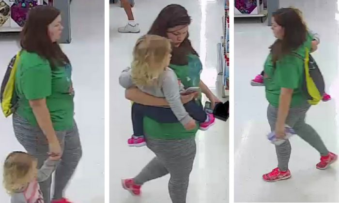 The FBI has released these three photos of a woman with what appears to be missing 3-year-old Mariah Woods walking through a Morehead, N.C. Walmart store just a few hours after the child was reported missing. (FBI)