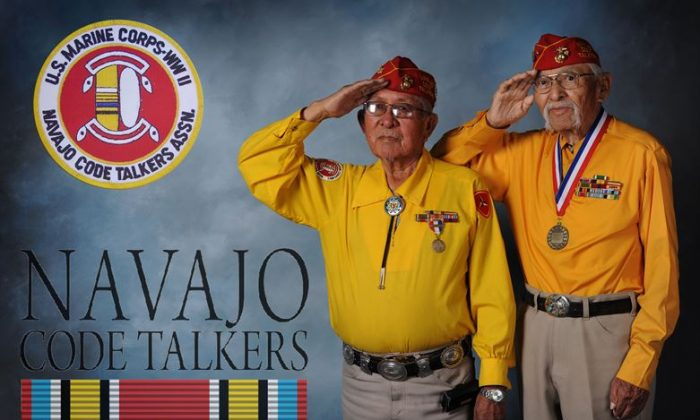 Bill Toledo and Albert Smith, Navajo Code Talkers, pose for a photo while visiting Cannon Air Force Base, N.M., Jan. 30 - Feb. 1, 2013. These New Mexico natives visited the base to speak to Airmen and raise funds to enable their mission to preserve the code talker history, legacy and language. (U.S. Air Force photo/Senior Airman Alexxis Pons Abascal)