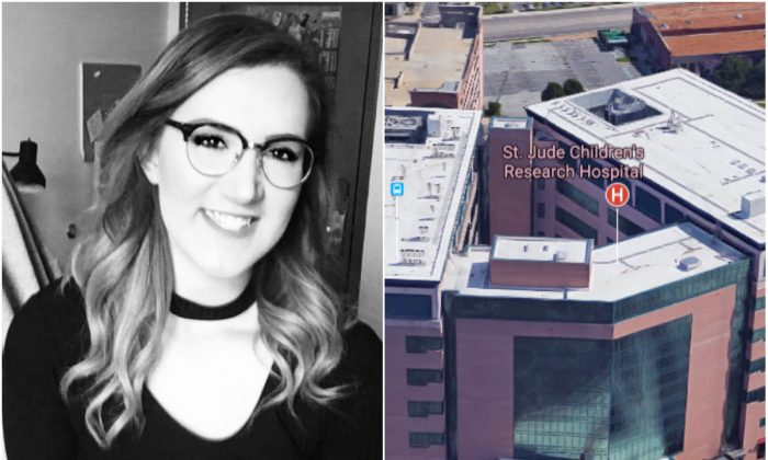 L: Danni Messina. (Courtesy of Danni Messina); R: St. Jude Children's Research Hospital in Memphis, Tenn. (Screenshot via Google Maps)