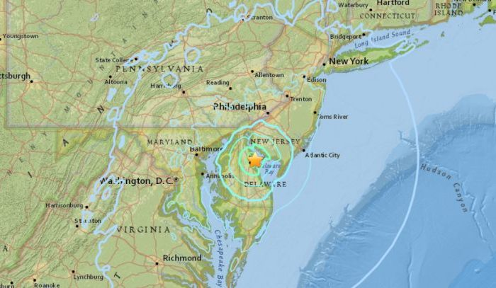 4.1 magnitude quake  strikes DE  and parts of Maryland