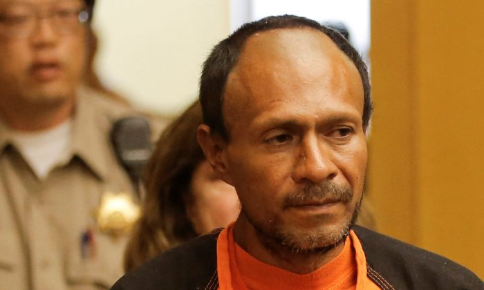 Jose Ines Garcia Zarate, arrested in connection with the July 1, 2015, shooting of Kate Steinle on a pier in San Francisco is led into the Hall of Justice for his arraignment in San Francisco, on July 7, 2015. (REUTERS/Michael Macor/Pool/File Photo)