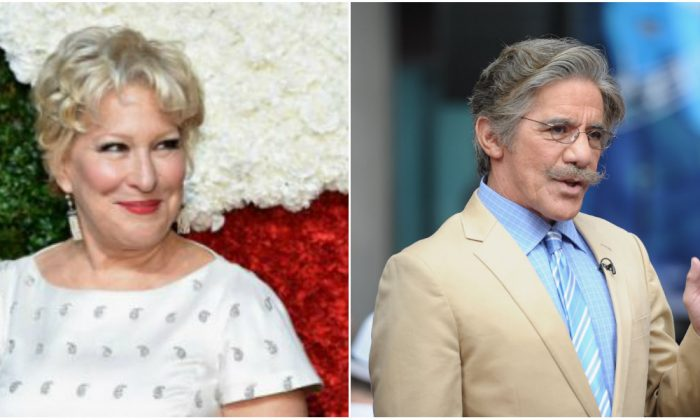Bette Midler (L) and Geraldo Rivera. (Mike Coppola/Getty Images for Michael Kors (L) and  Michael Loccisano/Getty Images)
