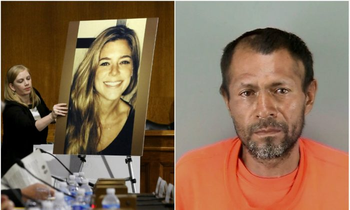 L:  A photo of murder victim Kate Steinle (R) on an easel during a hearing of the Senate Judiciary Committee on U.S. immigration enforcement policies, on Capitol Hill in Washington, DC, on July 21, 2015. (REUTERS/Jonathan Ernst/File Photo); R: Jose Ines Garcia Zarate. (San Francisco Police Department/Handout via REUTERS)
