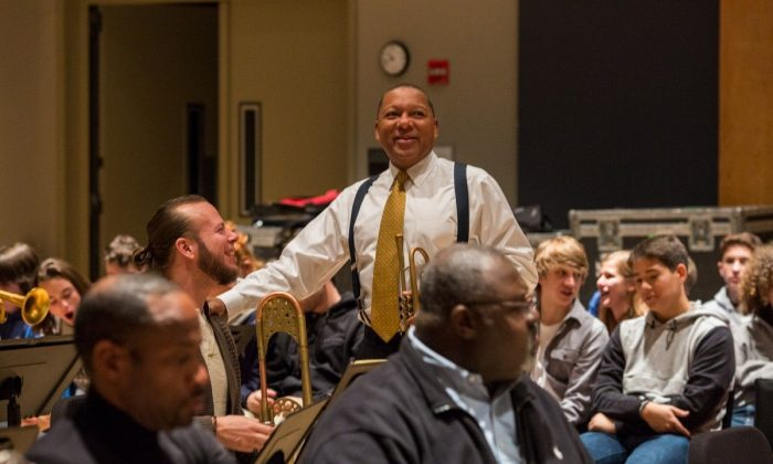 """Wynton Marsalis and Jazz at Lincoln Center Orchestra in rehearsal for a Nov. 9 2017 concert """"Bernstein at 100,"""" which celebrated the 100th anniversary of Bernstein's birth. Marsalis will also be appearing with the orchestra for the holidays. (Luigi Beverelli)"""