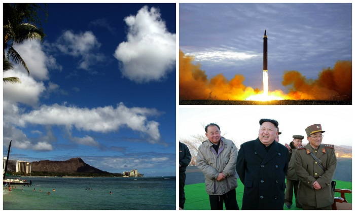 (Clockwise from L-R) A view of Honolulu's Waikiki beach; North Korea's intermediate-range strategic ballistic rocket Hwasong-12 lifting off from the launching pad at an undisclosed location near Pyongyang; North Korean leader Kim Jong-Un. (Patrick Baz/AFP/Getty Images and STR/AFP/Getty Images)
