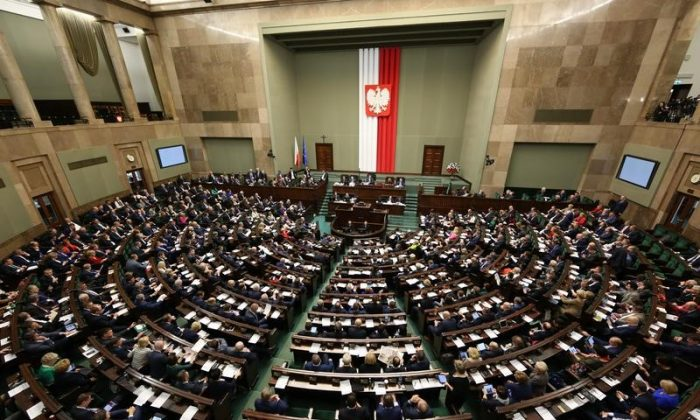 The Assembly hall of the lower house of the Polish Parliament (Sejm) in Warsaw, Poland. On Nov. 24, 2017, the Sejm passed a resolution condemning the ideology and consequences of the Bolshevik Revolution. (Krzysztof Białoskórski/ Chancellery of the Sejm).