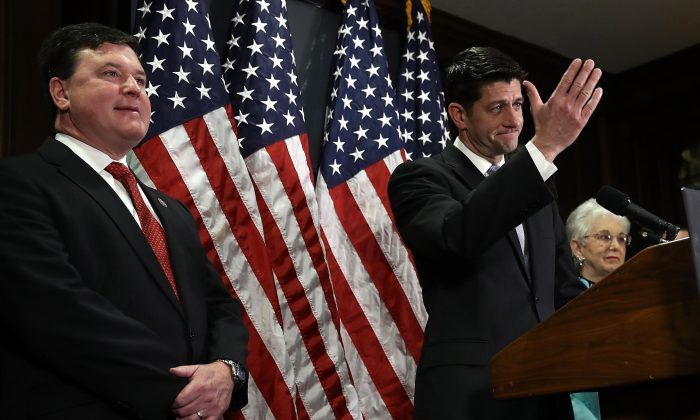 Rep. Todd Rokita (L) during a press conference with Speaker of the House Paul Ryan and Rep. Virginia Foxx (R) at the U.S. Capitol in Washington on Feb. 7, 2017. (Win McNamee/Getty Images)