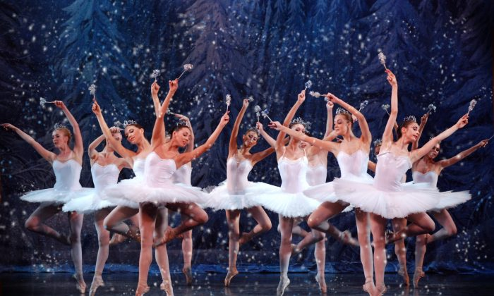 "The snow scene of ""The Nutcracker"" as performed by The State Ballet Theatre of Russia, with choreography by Marius Petipa and the Mariinsky's Vasily Vainonen. The company will appear at Kingsborough Community College in Brooklyn on Dec. 17, 2017. (Hollywood Entertainment Group )"