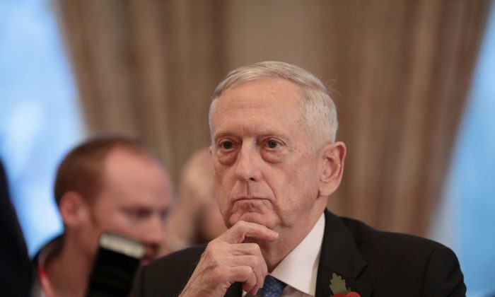 U.S. Secretary for Defense, Jim Mattis, sits opposite Britain's Secretary of State for Defence, Gavin Williamson, before a meeting at the Ministry of Defence (MoD) in central London, Britain Nov. 10, 2017. (Reuters/Simon Dawson)