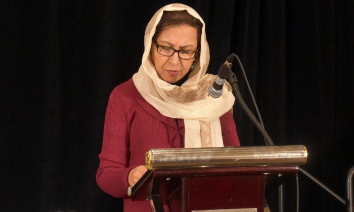 Her Excellency Shinkai Karokhail, Ambassador of Afghanistan to Canada, addresses the Ottawa Treaty 20th anniversary conference in Ottawa on Dec. 4, 2017. (Susan Korah)