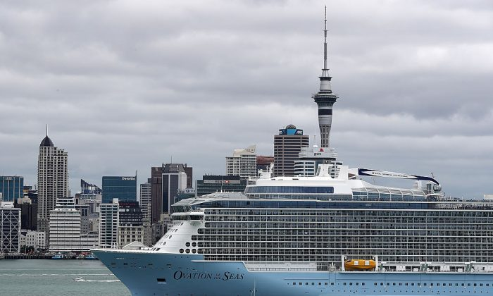 Ovation of the Seas anchored in the Waitemata Harbour on Dec. 27, 2016 in Auckland, New Zealand. (Fiona Goodall/Getty Images)