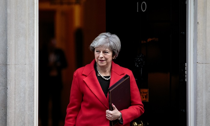 British Prime Minister Theresa May leaves Number 10 Downing St. on Nov. 13, 2017 in London. British security forces have foiled an alleged plot to kill May and bomb Downing St. (Jack Taylor/Getty Images)