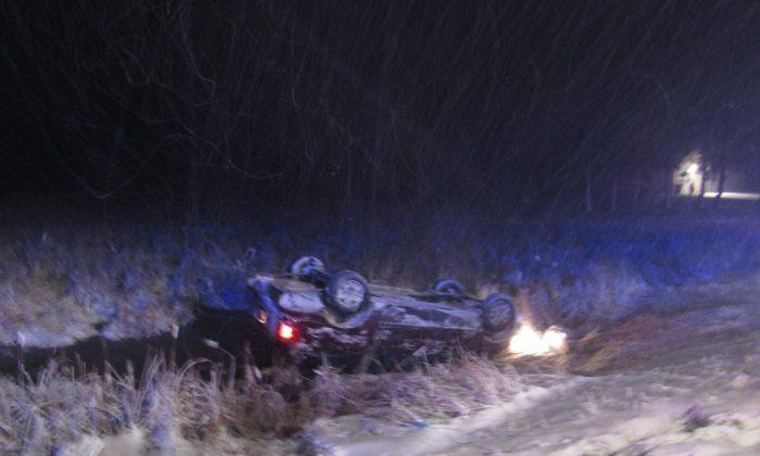 A van crashed near Cambridge, Minn., on Dec. 4, 2017. (Isanti County Sheriff's Office)