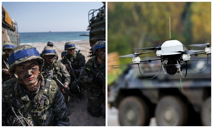 L: South Korean soldiers during an exercise in Pohang, on South Korea's southeast coast, on March 12, 2016. (Ed Jones/AFP/Getty Images) R: A 'Mikado' reconnaissance drone of the German armed forces. (Patrik Stollarz/AFP/Getty Images)