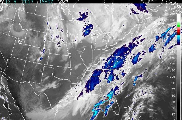 Enhanced infrared satellite picture of the United States from Dec. 8, 2017. (National Weather Service)