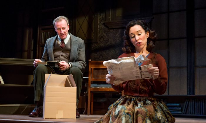 """Respected author and scholar C.S. Lewis (Daniel Gerroll) finds love late in life with Joy Davidman (Robin Abramson), in the Fellowship for Performing Arts production of """"Shadowlands."""" (Jeremy Daniel)"""