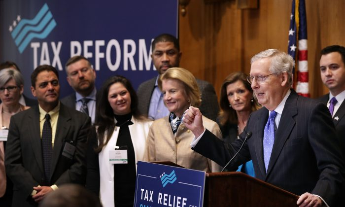 Senate Majority Leader Mitch McConnell (R-KY) addresses a tax reform news conference with Sen. Shelley Moore Capito (R-WV) and representatives from small business interest groups in the Dirksen Senate Office Building on Capitol Hill in Washington, DC on November 30, 2017. (Chip Somodevilla/Getty Images)