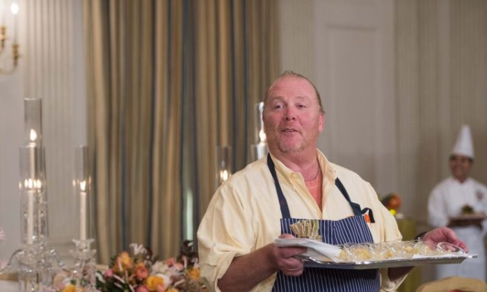 Chef Mario Batali speaks to the press at the White House in Washington, DC, on Oct. 17, 2016. (Nicholas Kamm/AFP/Getty Images)