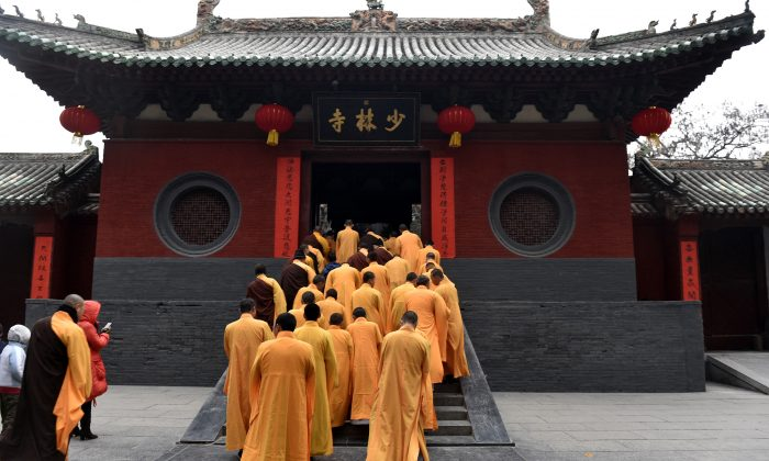 Chinese monks attend a ceremony at a Shaolin Temple to celebrate the Lunar New Year in Dengfeng County, Henan Province, on January 28, 2017. (STR/AFP/Getty Images)