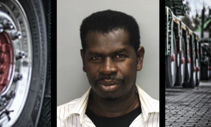 Long-haul trucker Walter Gabriel, of Marietta, Ga., has been found guilty of aggravated assault for running over his disabled wife with his tractor-trailer. (mugshot from Cobb County Sheriff's Office / background CC0 / compositing by Tom Ozimek)