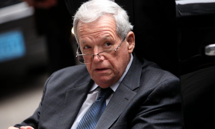 Former House Speaker Dennis Hastert leaves the Dirksen Federal Court House in a wheelchair after his sentencing on April 27, 2016 in Chicago. (Joshua Lott/Getty Images)