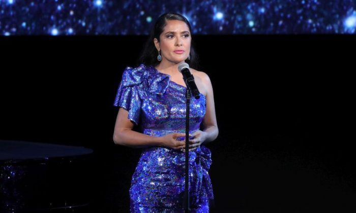 Actor Salma Hayek, wearing Gucci, during the 2017 LACMA Art + Film Gala Honoring Mark Bradford and George Lucas presented by Gucci at LACMA on Nov. 4, 2017, in Los Angeles.  (Neilson Barnard/Getty Images for LACMA)