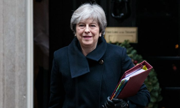 British Prime Minister Theresa May leaves Number 10 Downing Street on December 13, 2017 in London, England.  Mrs May will head to Brussels for a crucial European Council meeting this week as Brexit negotiations move onto the next phase. (Jack Taylor/Getty Images)