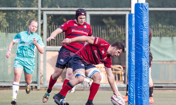 HK Scottish No 8 Kane Boucaut's pinpoint placement between the posts during their HKRU Premiership match with Valley at Shek Kip Mei on Saturday Dec9., 2017. (Dan Marchant)