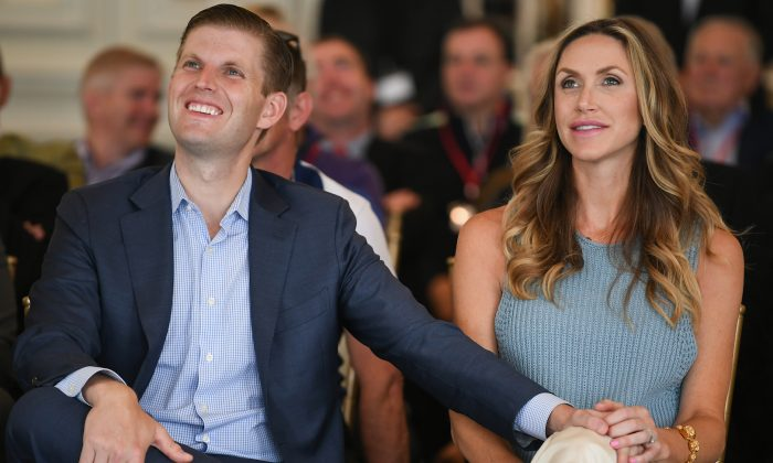 Eric Trump and his wife Lara attend the opening Trump Turnberry's new golf course the King Robert The Bruce course on June 28, 2017 in Turnberry, Scotland. Formerly the Kintyre Course, it has been redesigned and upgraded and forms the second course to the acclaimed championship Ailsa course. (Photo by Jeff J Mitchell/Getty Images)
