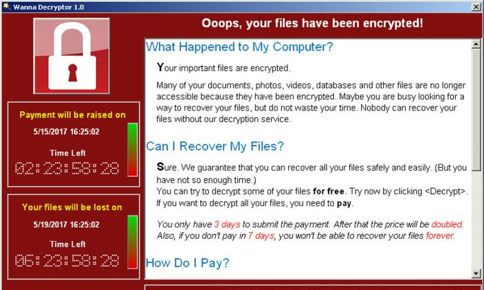 A screenshot shows a WannaCry ransomware demand, provided by cyber security firm Symantec, in Mountain View, California, U.S. May 15, 2017.  (Courtesy of Symantec/Handout via Reuters)