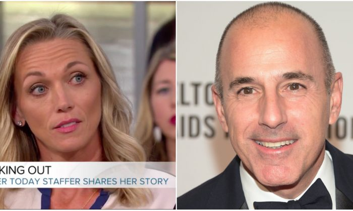 "Addie Zinone (R) on NBC's ""Megan Kelly Today"" on Dec. 18, 2017 and former ""Today"" show host Matt Lauer on Oct. 28, 2014. (Screenshot via Today.com (L), Michael Loccisano/Getty Images)"