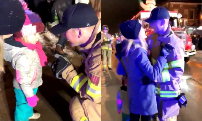 Matt Poliak with fiancé Grace Johnson and her daughter Isla at the Winter Daze Parade in Menomonie, Wis., on Dec. 14, 2017. (Screen grab of a video/courtesy of Matt Poliak)