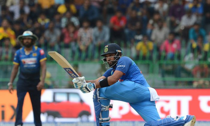 Indian cricketer Rohit Sharma plays a shot during the fourth one day international (ODI) cricket match between Sri Lanka and India at R. Premadasa Stadium in Colombo on August 31, 2017. (Lakruwan Wanniarachchi/AFP/Getty Images)