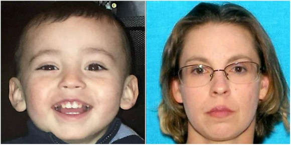 Evan Brewer (L), a  3-year-old found dead in a concrete block, and his mother, Miranda Miller (R). (Kansas Missing Persons Report)