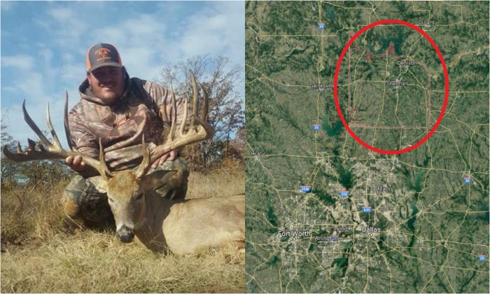 L: John Walker Drinnon with a 19-point buck. (Texas Parks and Wildlife Department); R: Grayson County, Texas. (Screenshot via Google Maps)