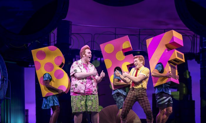"""(L–R) Patrick Star (Danny Skinner) is the BFF of SpongeBob SquarePants (Ethan Slater) in the musical """"SpongeBob SquarePants,"""" based on the popular Nickelodeon television series. (Joan Marcus)"""