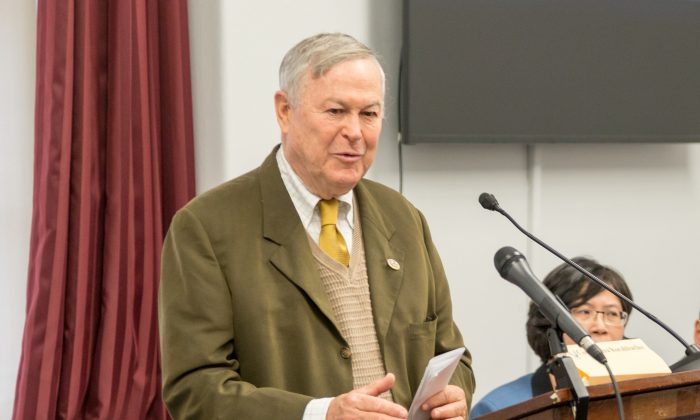 U.S. Congressman Dana Rohrabacher speaks at a forum about human rights abuses in China held at the Cannon office building on Capitol Hill on Dec. 20, 2017. (Paul Huang/The Epoch Times)