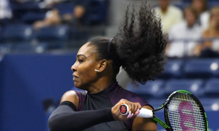 Serena Williams of the USA hits to Vania King of USA (not pictured) on day four of the 2016 U.S. (Robert Deutsch-USA TODAY Sports/Reuters)