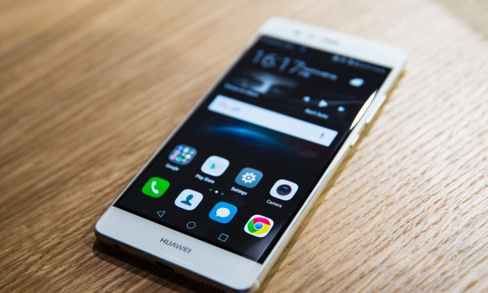 The P9 smartphone by Huawei during the phone's launch at the Battersea Evolution venue in London on April 6, 2016. (Jack Taylor/AFP/Getty Images)
