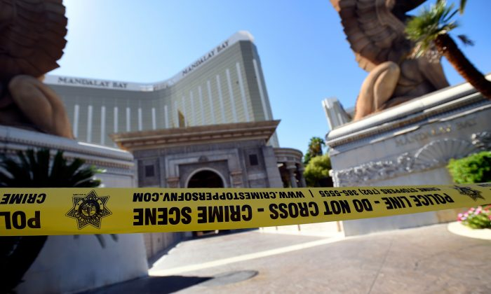 Police tape blocks an entrance at the Mandalay Bay Resort & Casino in Las Vegas, Nevada, on Oct. 4, 2017. (David Becker/Getty Images)