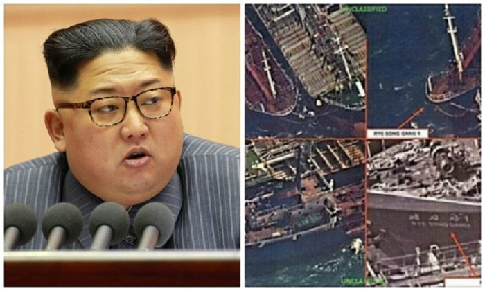 An image of North Korean leader Kim Jong-Un taken on Dec. 23, 2017. (AFP/Getty Images)  Spy satellite images taken on Oct. 19 show North Korean ship connected to a Chinese vessel. (U.S. Treasury Department)