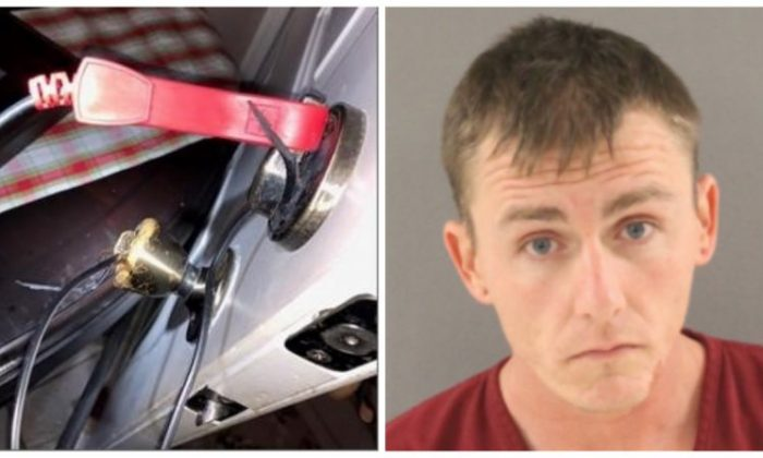 (L) A barricade and an electrical cable attached to the front door of a home in Florida. (Flagler County Sheriff's Office) (R) Michael Wilson. (Flagler County Sheriff's Office)