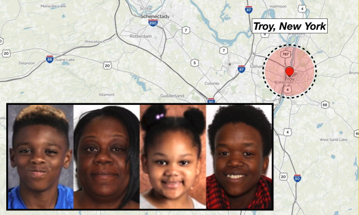 "(L-R) Jeremiah ""JJ"" Myers, 11, Shanta Myers, 36, Shanise Myers, 5, Brandi Mells, 22. The victims of the quadruple homicide were found in a Troy apartment on Tuesday, Dec. 26. (Troy Police Department/Background image via MapQuest)"