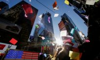 Bright Lights of Times Square Beckon, Even on a Frigid New Year's Eve