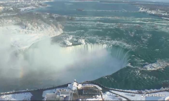 Incredible photos of the Niagara Falls show how it has transformed into a winter wonderland. (EarthCam.com)