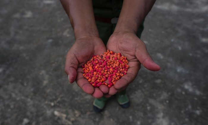 Yaba drugs are shown before a drug-burning ceremony to mark the U.N. International Day Against Drug Abuse and Illicit Trafficking, in Poung Par Khem, near the Thai and Burma border, on June 26, 2017. (Ye Aung Thu/AFP/Getty Images)