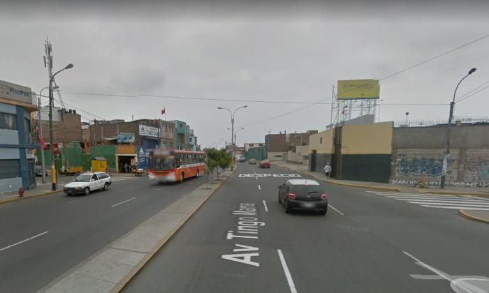 A street view of a road in Breña, in the Peruvian capital of Peru, near the scene of the crash. (Screenshot via Google Maps)