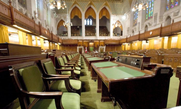 The House of Commons sits empty during summer break. In a survey, female MPs shared their experiences with sexually inappropriate behaviour, including on Parliament Hill. (The Canadian Press/Adrian Wyld)